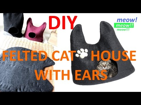 Wool Felted Cat House / Cat Bed With Ears : DIY