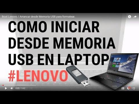 Boot Lenovo / Arrancar desde Memoria USB para formatear.