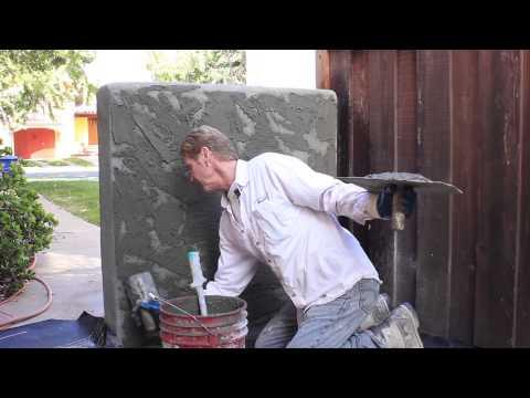 Adobe plaster finish on Cinder block wall
