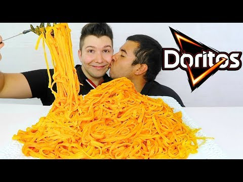 OUR LAST VIDEO TOGETHER • SUPER CHEESY DORITOS FETTUCCINE ALFREDO NOODLES • Mukbang & Recipe
