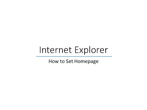 How to set homepage in internet explorer