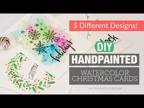 DIY Hand-painted Watercolor Christmas Cards - 5 Different Designs!