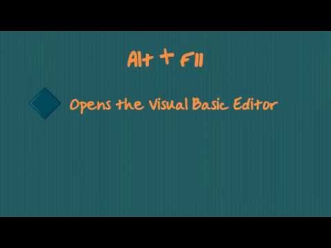 MS Excel : Open Format cells Dialogue Box and Visual Basic Editor