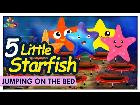 Five Little Starfish Jumping On The Bed - Learn Jumping On The Bed Nursery Rhyme - Kids Carnival