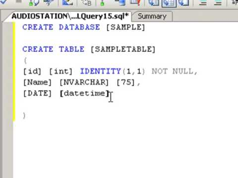 SIMPLE SQL DATABASE AND TABLE CREATION