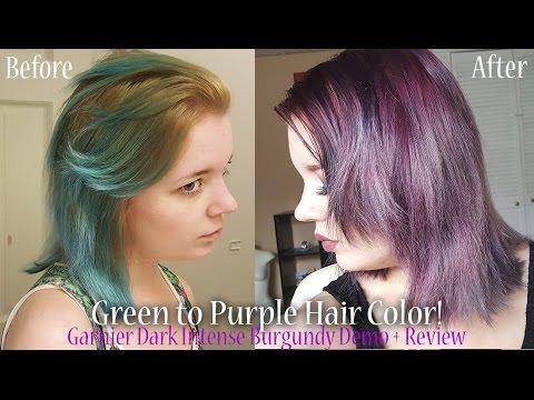 Green to Purple Hair! Garnier Dark Intense Burgundy Demo + Review