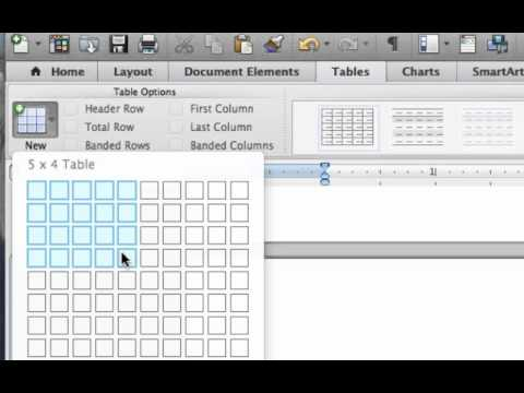 Creating Tables in MS Word for Mac users