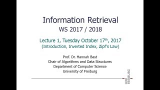 Information Retrieval WS 17/18, Lecture 1: Introduction, Inverted Index, Zipf's Law