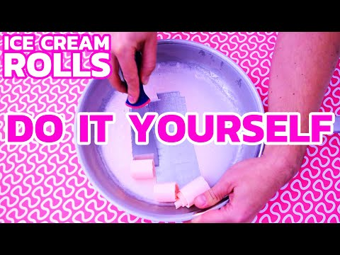 Ice Cream Rolls - DIY RECIPE | How to make Ice Cream Rolls at home - with pink Marshmallows