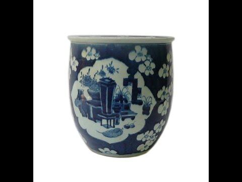 Chinese Blue & White Flower Vase Porcelain Narrow Pot Planter cs599