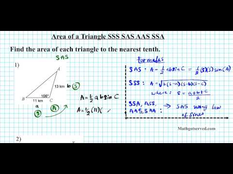 finding area of a triangle SAS SSS AAS hero formula trig al2