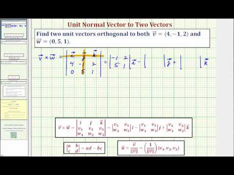 Ex: Find Two Unit Vectors Orthogonal to Two Given Vectors