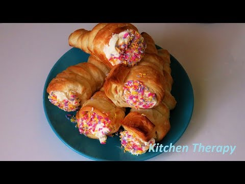 Homemade Cream Horns/Cream Roll Puff Pastry Cones Cream Filling Recipe/Kitchen Therapy کریم رول