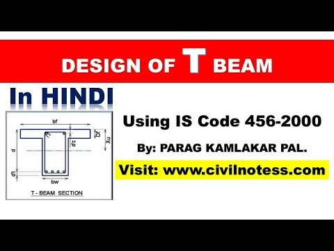 T Beam design as per IS 456-2000 By Parag Pal in HINDI