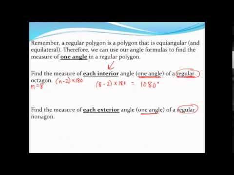 Finding the measure of one interior angle and one exterior angle of a regular polygon