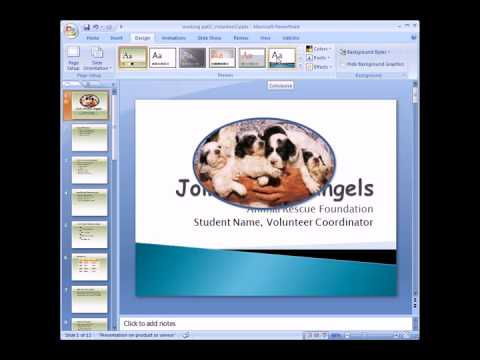 Working with Tables, Themes, Master Slides and Speaker Notes in PowerPoint.