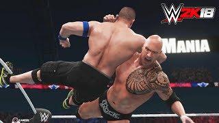 WWE 2K18 - Gameplay PS4 Pro / Xbox One The Rock vs John Cena Extreme Rules