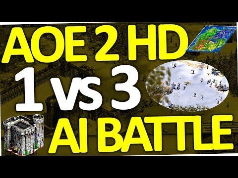 Age of Empires 2 HD AI vs Original AI  | 1 vs 3 | Conquerors on Hardest (AOE II Battle)