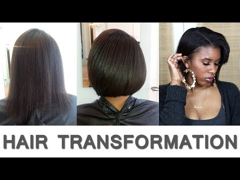 HAIR TRANSFORMATION/BOB CUT ✂️ ⇢ RELAXED HAIR UPDATE #7 - HEALTHY HAIR JOURNEY   GENIE