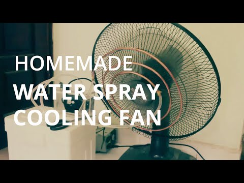 Homemade water spray cooling fan