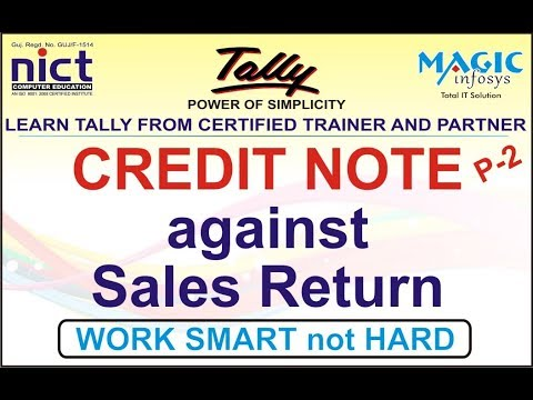 CREDIT NOTE AGAINST SALES RETURN AND  EXPLAIN IN GSTR1 REPORT|| PART-2 || NICT