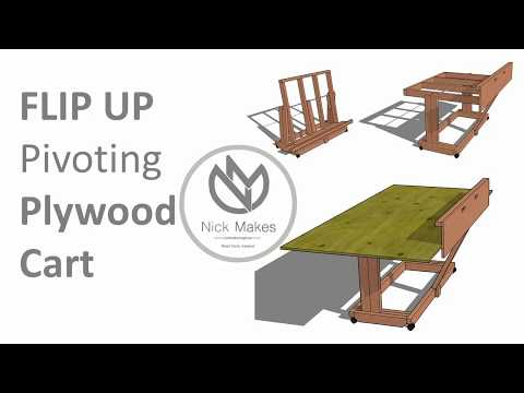 Flip Up Pivoting Plywood Cart - Reclaimed 2x4s
