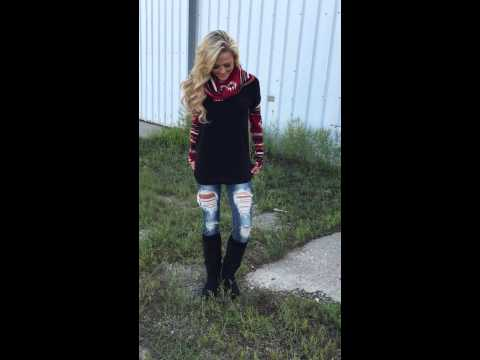 Cabin Fever Tunic Sweater with Distressed Jeans