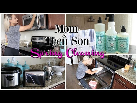EXTREME KITCHEN DEEP CLEANING ROUTINE | SPRING CLEANING | MOM & TEEN SON EDITION