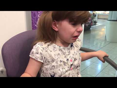 5 Year old getting ears pierced at Claire's
