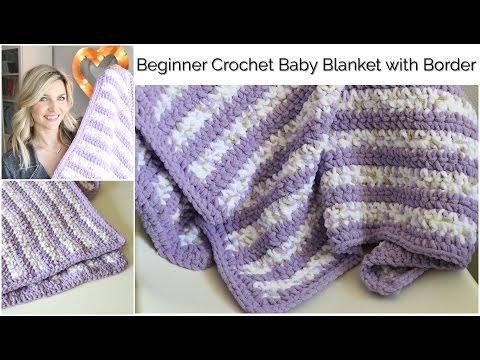 Beginner Crochet Baby Stripes Blanket with Border:Baby Series