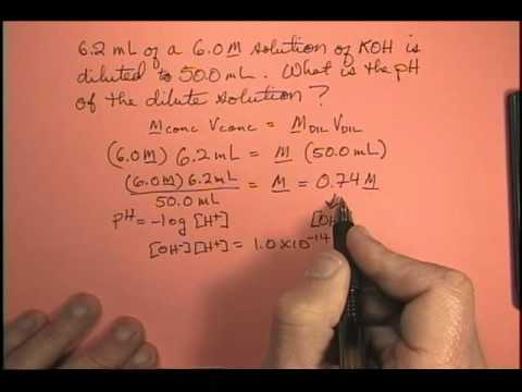 6.2 mL of a 6.0M solution of KOH is diluted to 50.0 mL. What is the pH of the dilute solution?