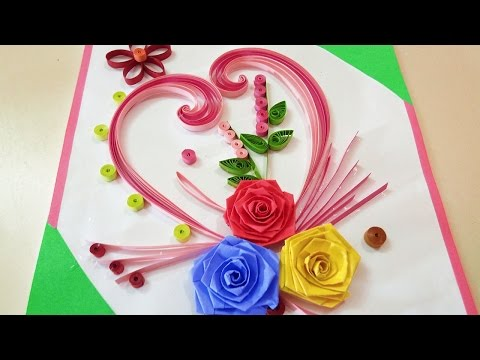 Paper Quilling | How To Make Beautiful Rose Flower Design Greeting Card | Paper Quilling Art