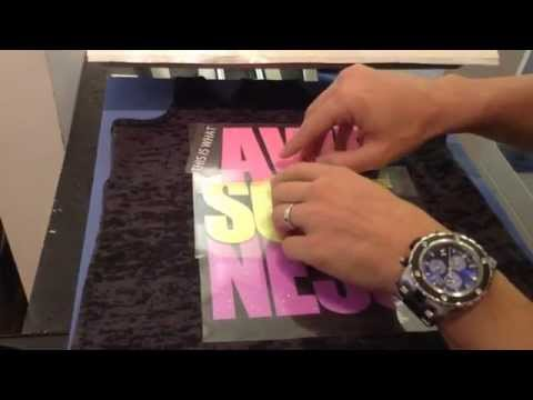 How to heat press and layer a 4 Color Neon Glitter Heat transfer vinyl design on a T Shirt