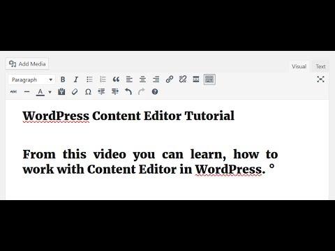 WordPress Content Editor Tutorial