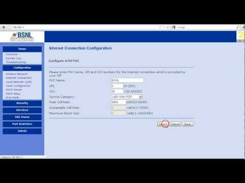 BSNL broadband modem configuration  -PPPoE mode