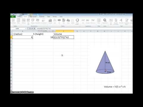 Volume of a Cone using Excel