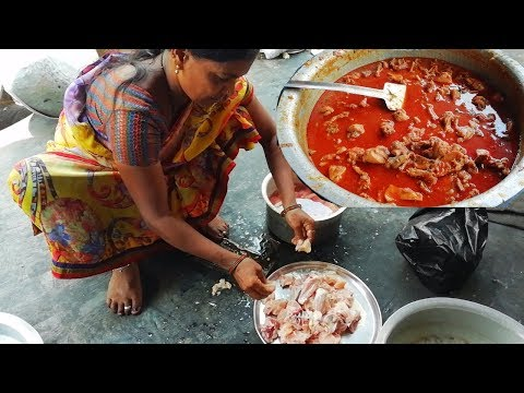 Indian Sweets Making People Cooking Chicken Curry For Workers And Eating With Rice - Village Food