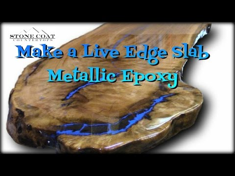 Live Edge Slab Table, How to coat and finish with Blue Metallic!