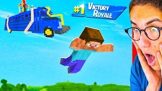 Reacting To MINECRAFT MEETS FORTNITE BATTLE ROYALE ANIMATION!