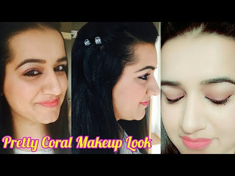 GRWM : Pretty Coral Makeup Look | Makeup & Simple Hairdo - Get Ready With Me