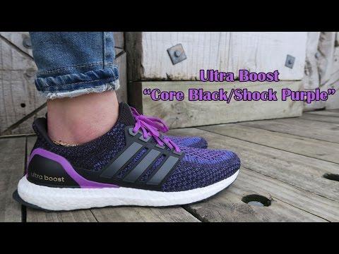 Adidas Ultra Boost Core Black/Shock Purple | Women's Sneaker