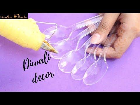 DIY Diwali Decoration with plastic spoon idea I Easy Diwali craft I Creative Diaries