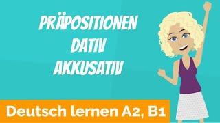 Download Deutsch lernen A2, B1 / Präpositionen immer mit Akkusativ und Dativ / Personalpronomen Video