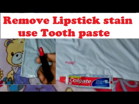 Remove lipstick stain from your clothes - use tooth paste