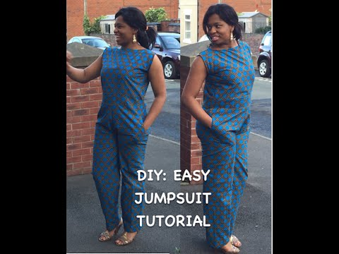 DIY : ANKARA JUMPSUIT TUTORIAL  WITH SIDE POCKETS