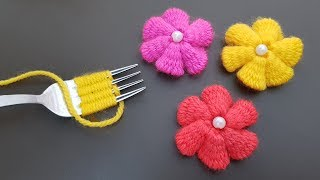 Hand Embroidery Amazing Trick, Easy Flower Embroidery Trick with Fork, Sewing Hack