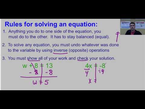 Solving One Step Equations Video