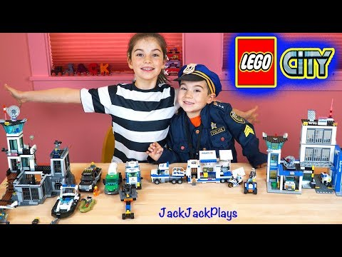 Lego City Police Set Collection - Costume Pretend Play + Kids Playing with Legos