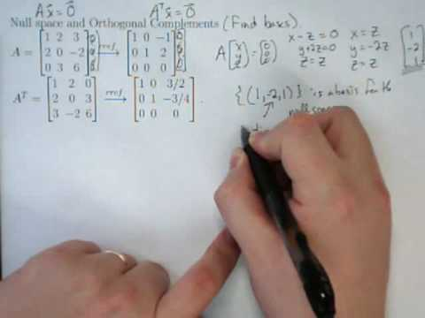 2-Applications-10- Null Space and the Orthogonal Complement of the Column Space