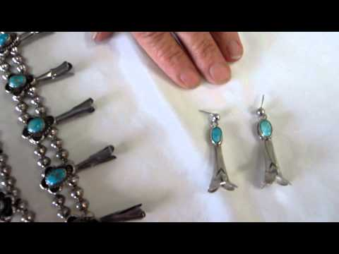 Sterling Silver Navajo Squash Blossom Necklace with Turquoise stones and matching Earrings